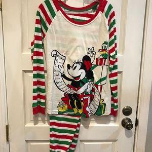 Disney Minnie Mouse Christmas Stripe Pajamas M